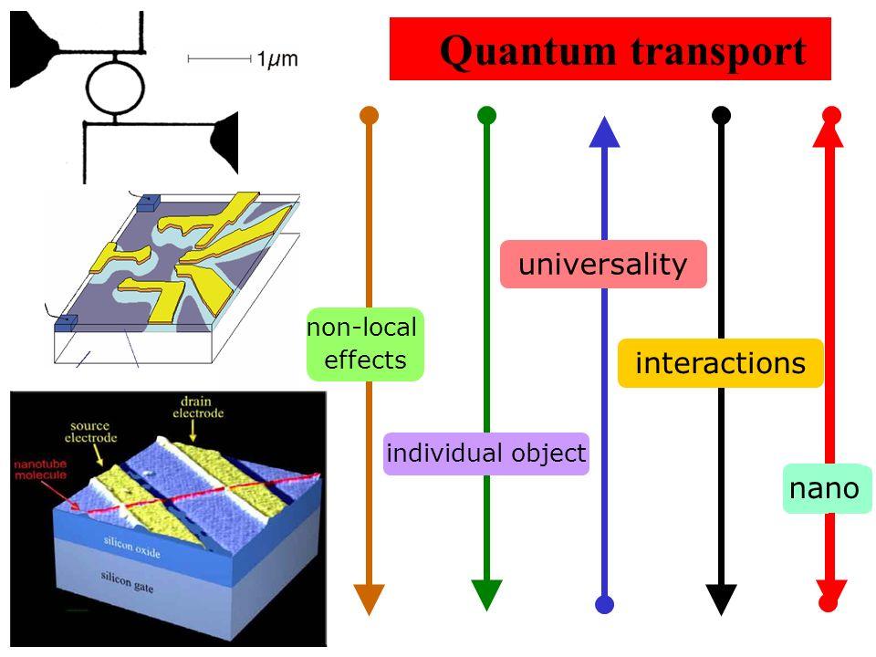 Quantum transport universality interactions nano size non-local