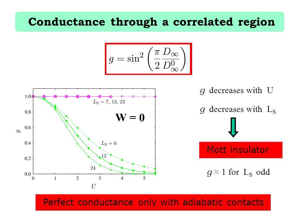 Conductance through a correlated region