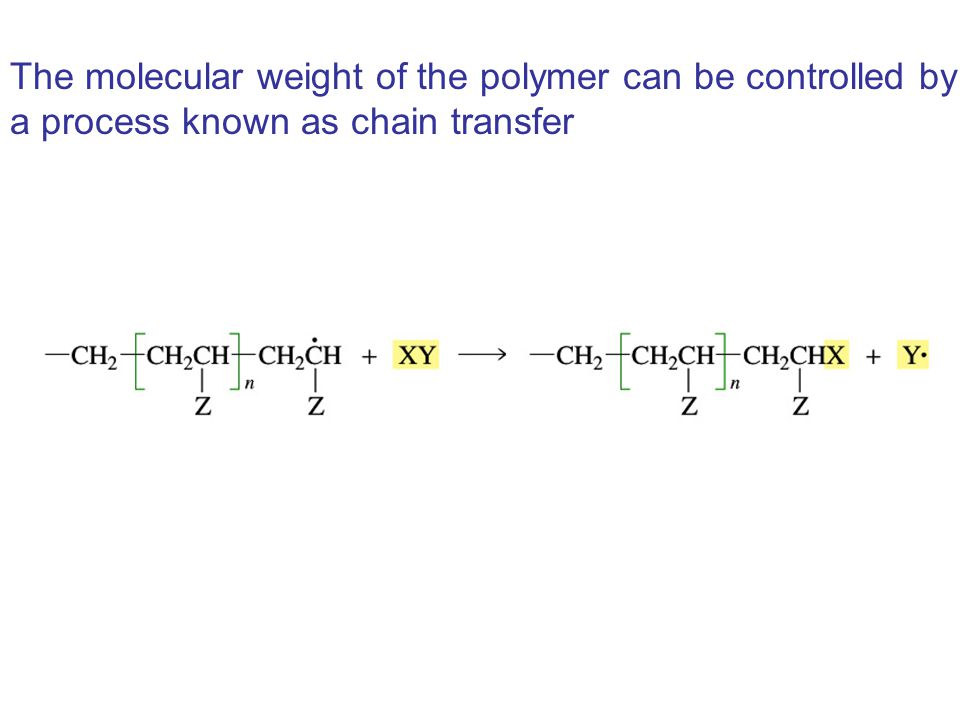 The molecular weight of the polymer can be controlled by