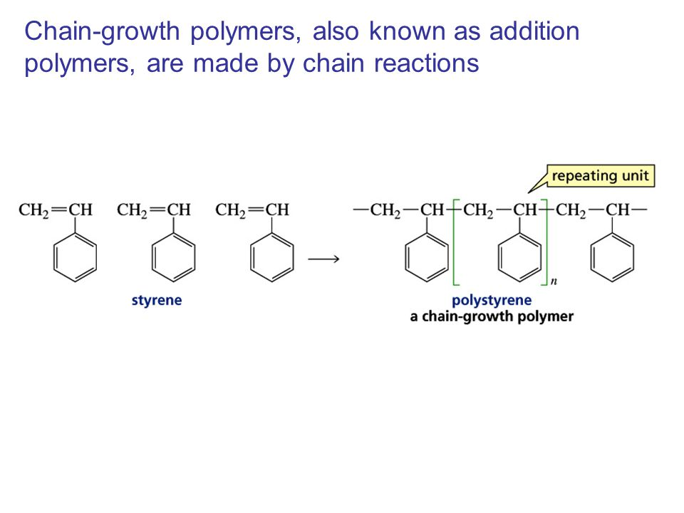 Chain-growth polymers, also known as addition polymers, are made by chain reactions