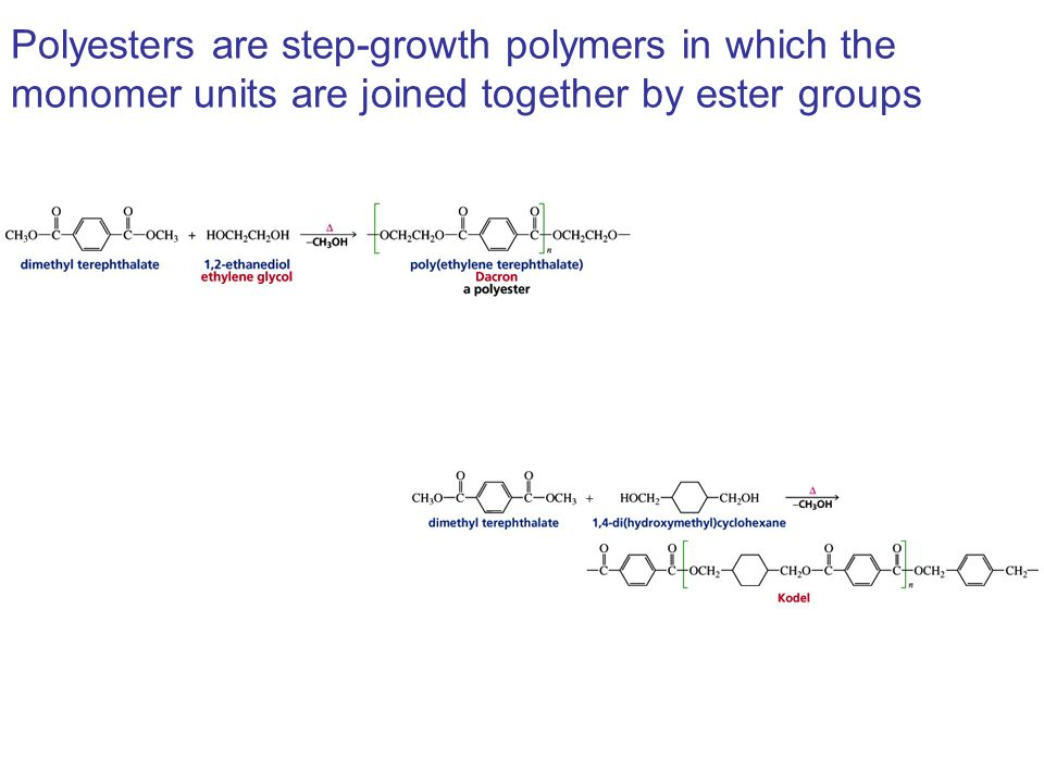 Polyesters are step-growth polymers in which the