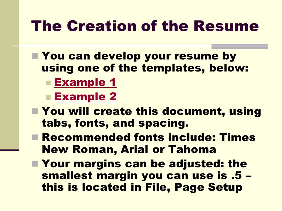 The Creation Of The Resume  Smallest Font For Resume