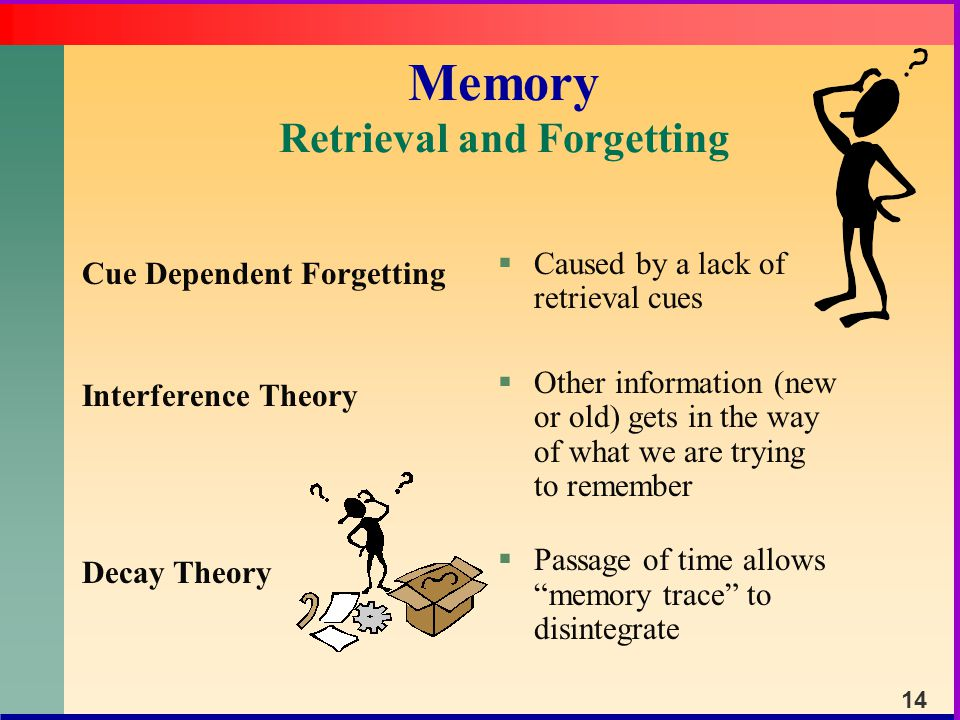cue dependant theory of forgetting State-dependent memory is where a person's physical state can influence  as  there is research to suggest that state dependent memory can be applied   overall, i agree that context, state, and cue-dependent learning can.