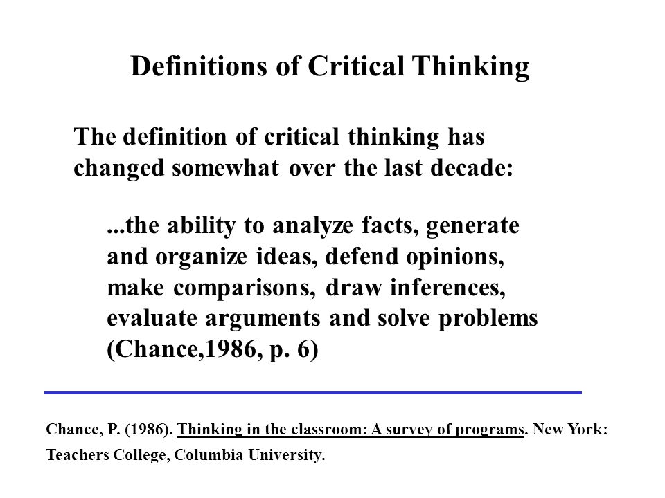 Definitions Of Critical Thinking