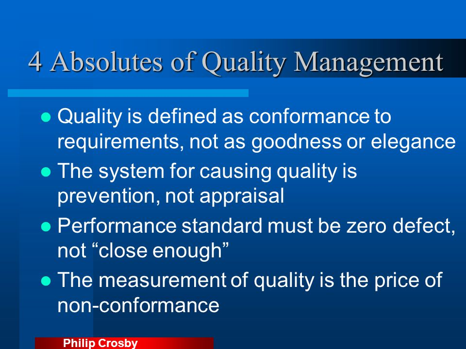 4 Absolutes of Quality Management