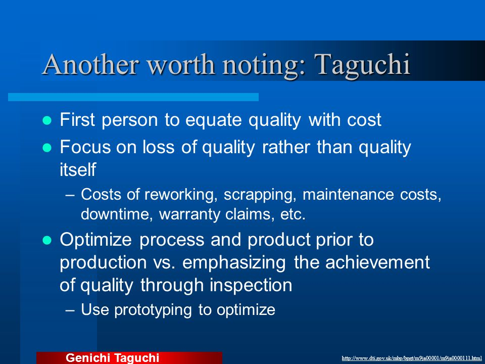 Another worth noting: Taguchi