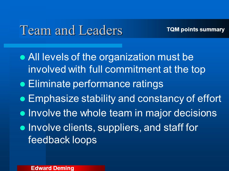 Team and Leaders TQM points summary. All levels of the organization must be involved with full commitment at the top.