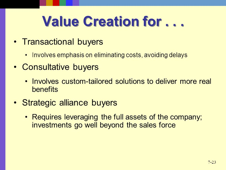 Value Creation for Transactional buyers Consultative buyers