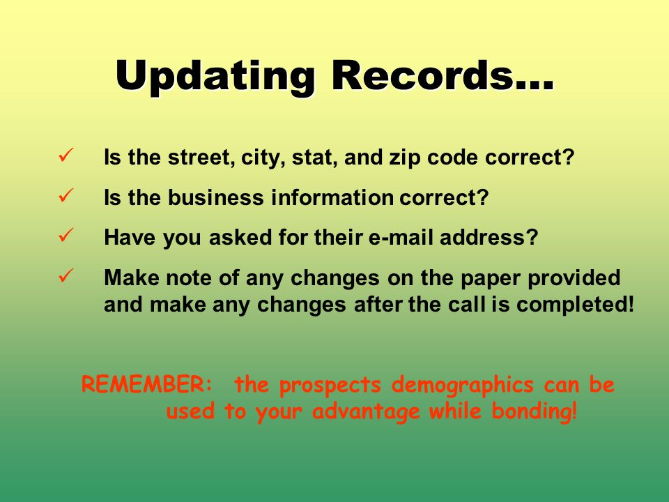 Updating Records… Is the street, city, stat, and zip code correct