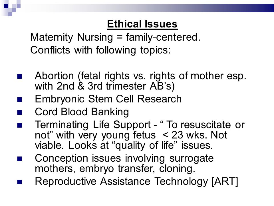 maternal rights vs fetal rights Depa ul la w review by tracing the development of fetal rights over the past one hundred years, proponents for imposing maternal liability have concluded that logic and.
