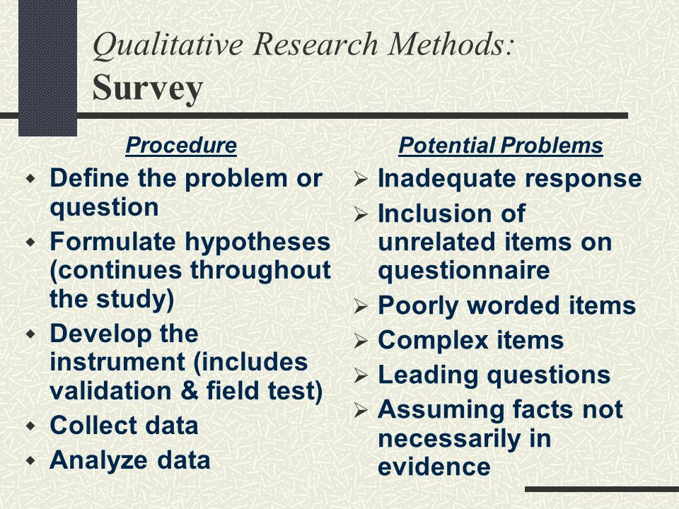 Qualitative Research Methods: Survey