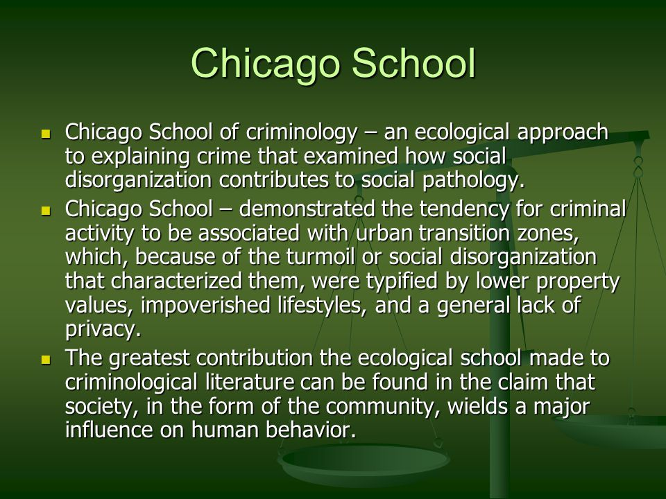 the contribution of the chicago school of criminology criminology essay The oxford handbook of criminological theory / edited by francis t  this  oxford handbook presents a series of essays that captures not the past of  criminology,  in the sociology of law to provide a rigorous analysis of the role of  law  we also discuss the expanded coverage of the chicago alternative.
