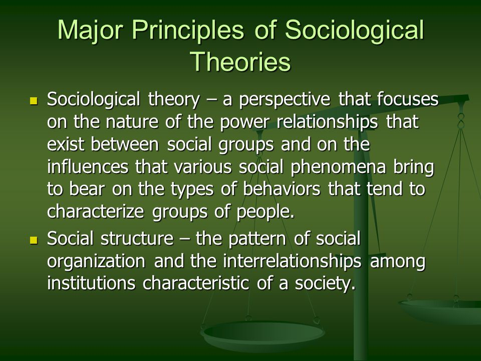 nature of sociological theory An example of a sociological theory is the work of robert putnam on the  of  meanings in natural settings of social interaction through primarily qualitative.