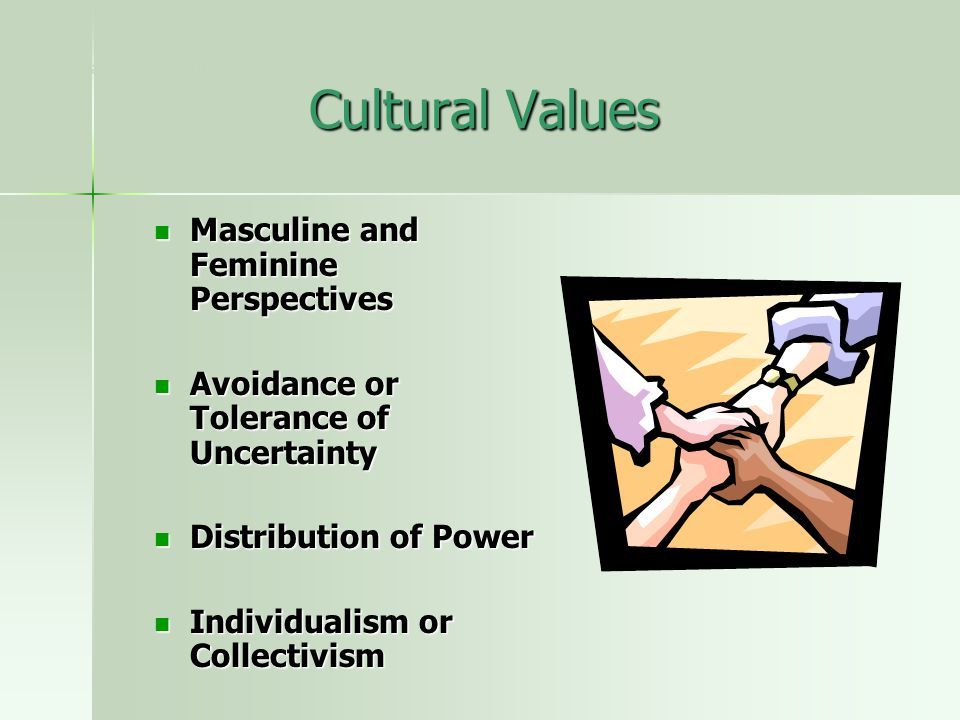 Cultural Values Masculine and Feminine Perspectives