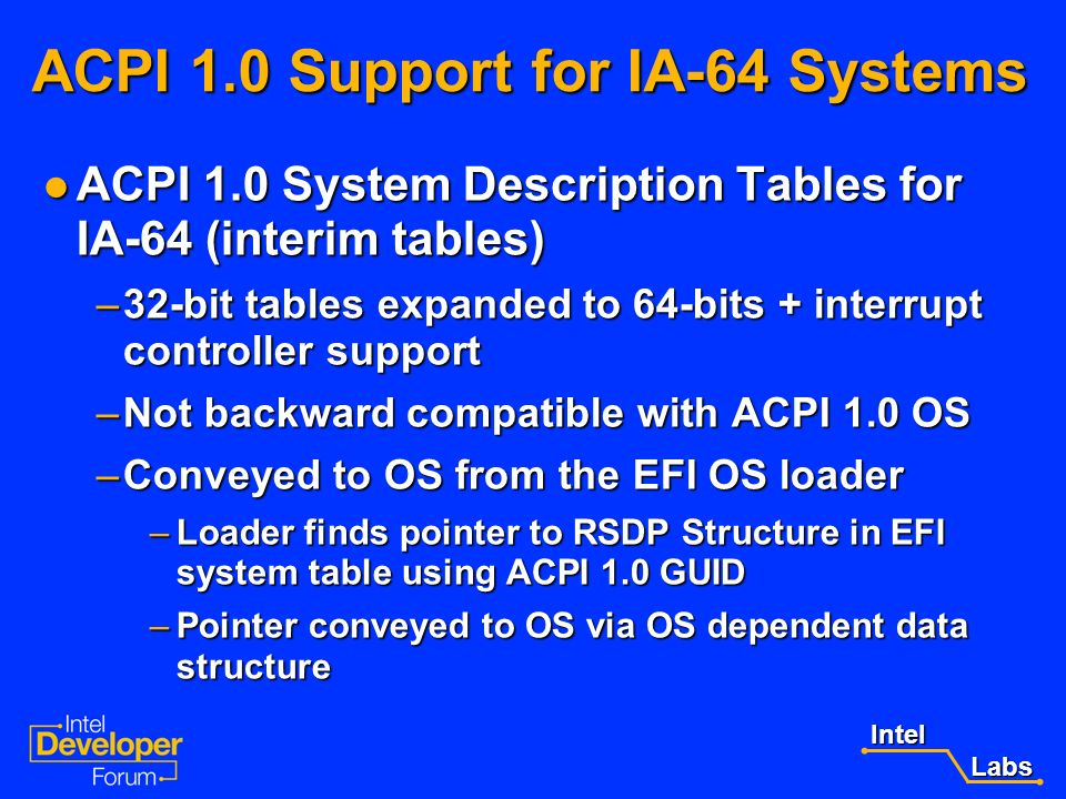 ACPI 1.0 Support for IA-64 Systems
