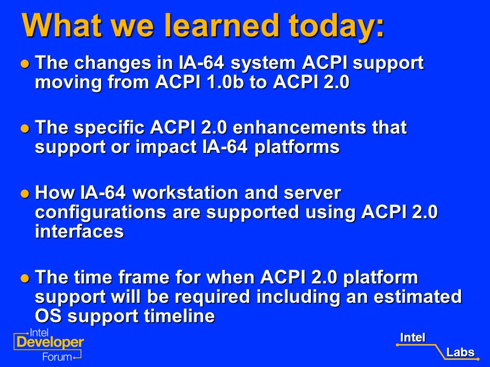 What we learned today:The changes in IA-64 system ACPI support moving from ACPI 1.0b to ACPI 2.0.