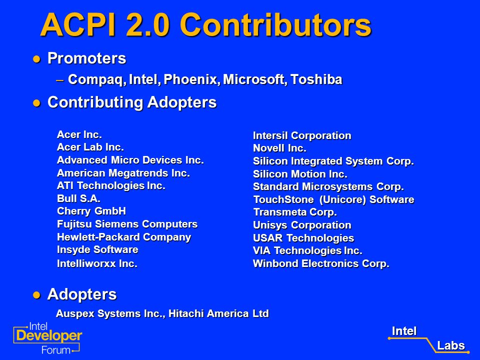 ACPI 2.0 Contributors Promoters Contributing Adopters Adopters