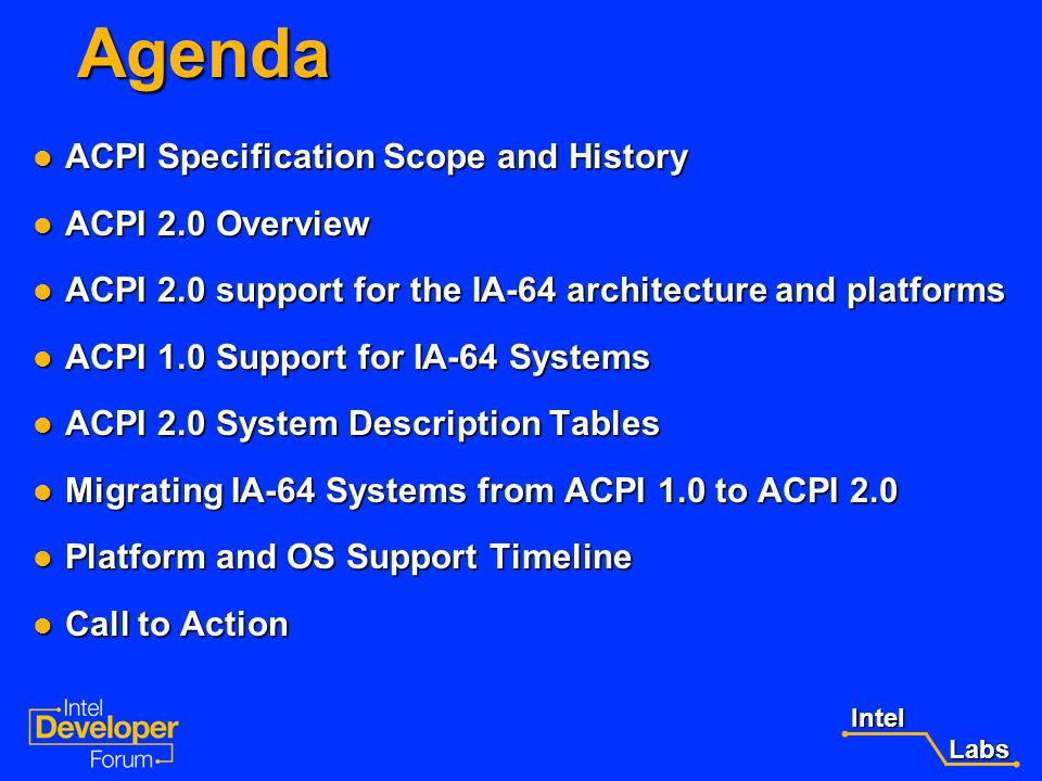 Agenda ACPI Specification Scope and History ACPI 2.0 Overview