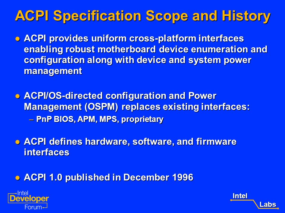 ACPI Specification Scope and History