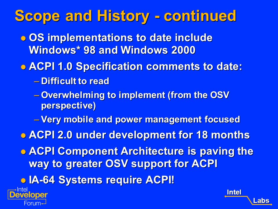Scope and History - continued