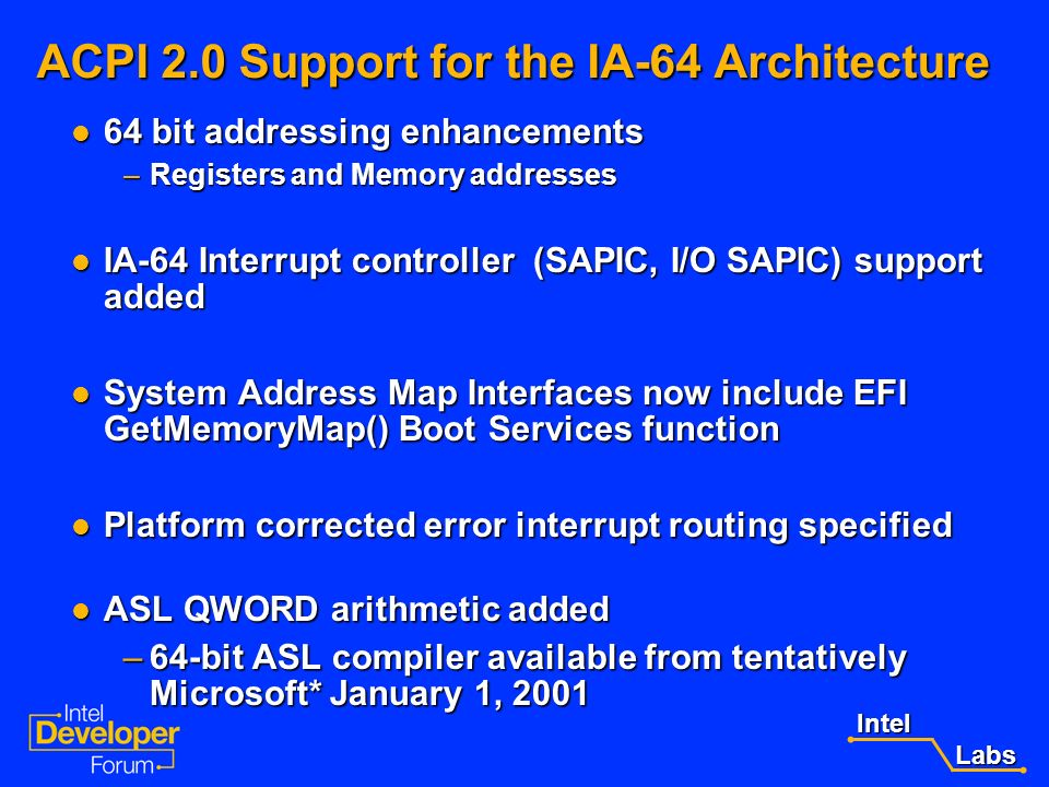 ACPI 2.0 Support for the IA-64 Architecture