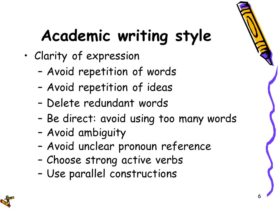 Academic writing style words list