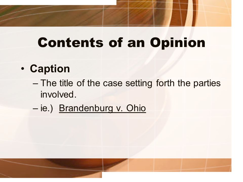 Contents of an Opinion Caption