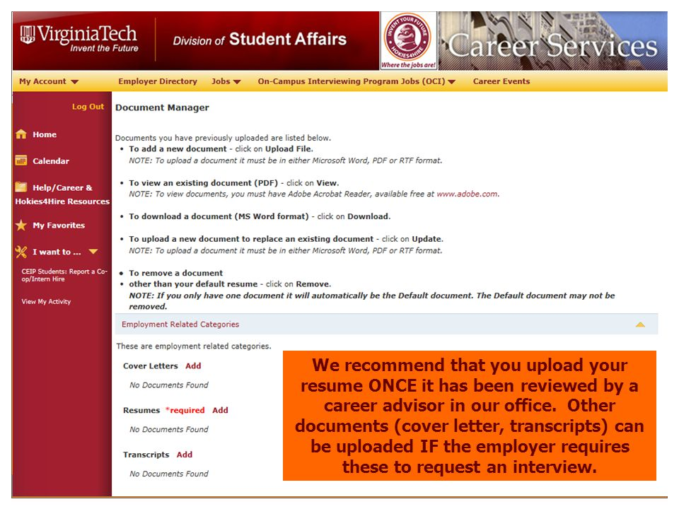 on campus interviews hokies4hire ppt download