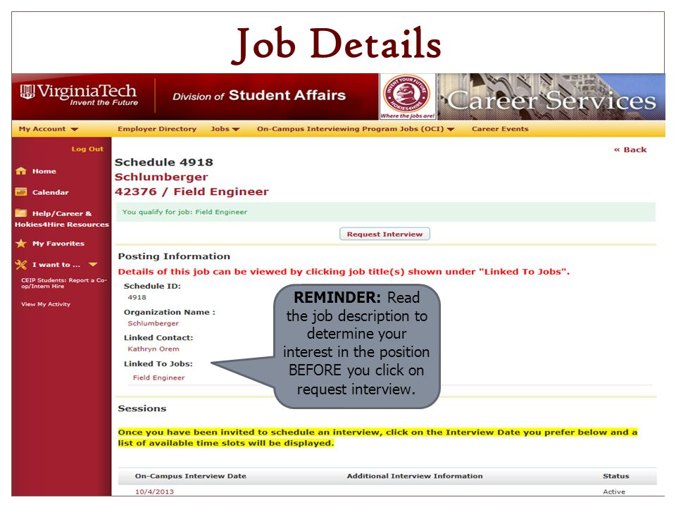 14 job details reminder read the job description to determine your interest in the position before you click on request interview - How To Get An Interview For A Job Of Your Interest