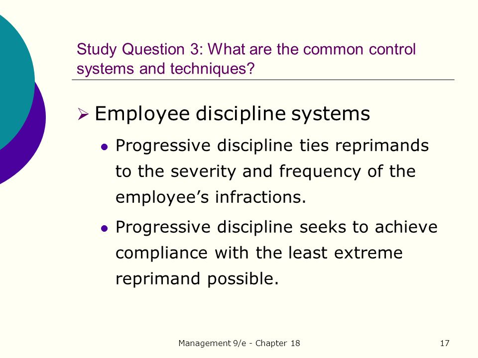 Study Question 3: What are the common control systems and techniques