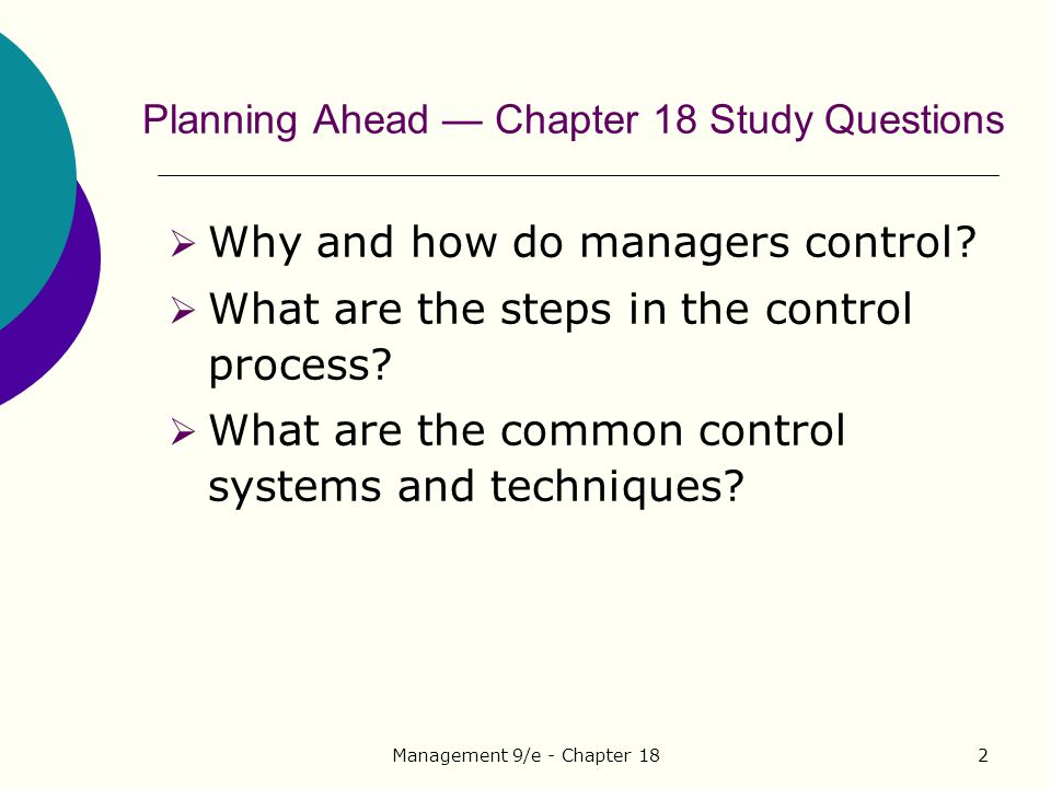 Planning Ahead — Chapter 18 Study Questions