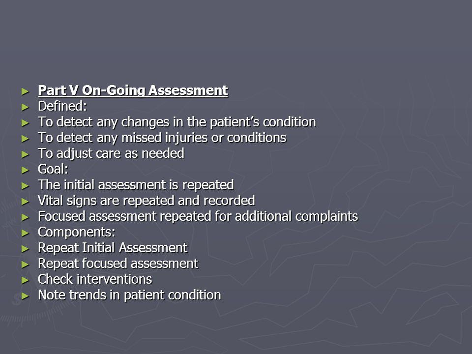 Part V On-Going Assessment