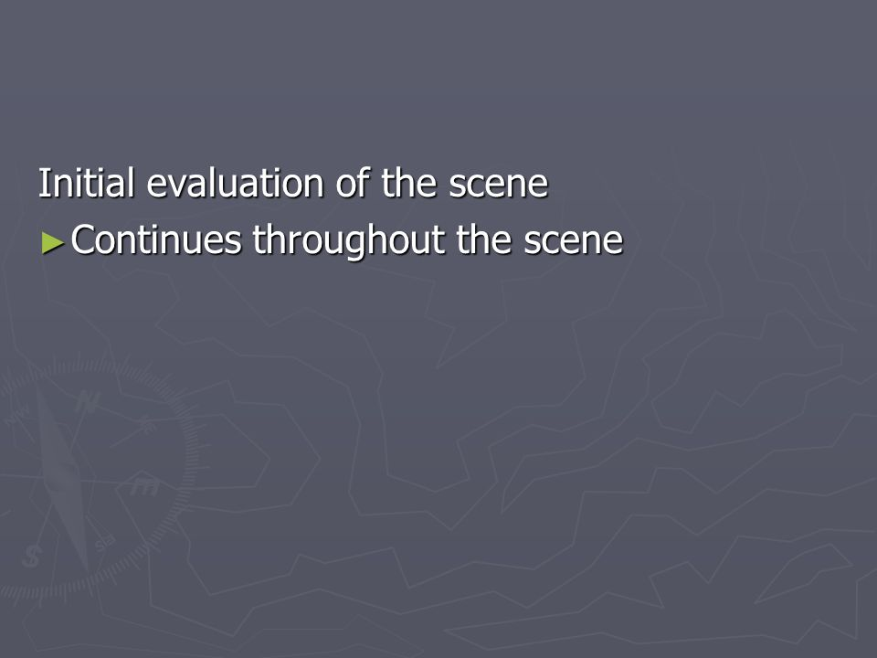 Initial evaluation of the scene