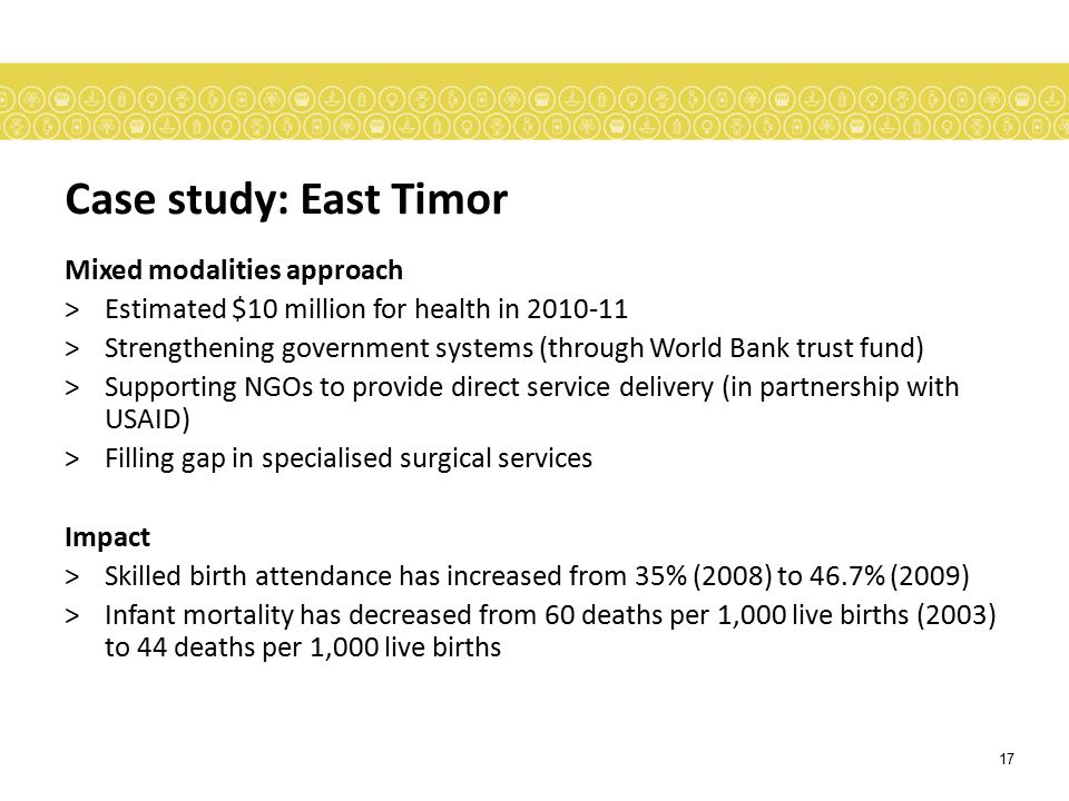 Case study: East Timor Mixed modalities approach