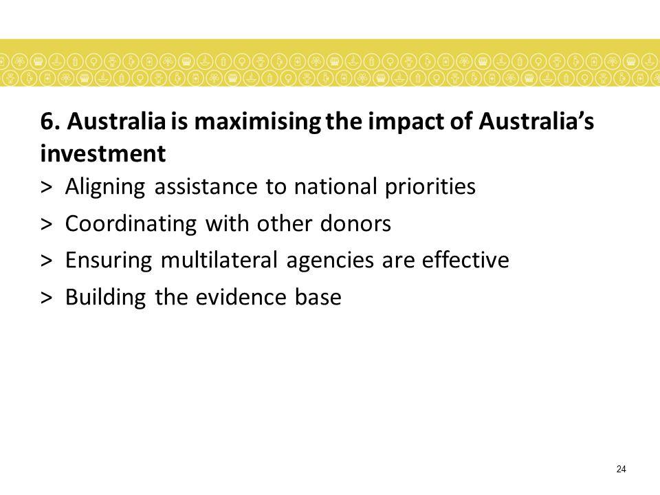 6. Australia is maximising the impact of Australia's investment
