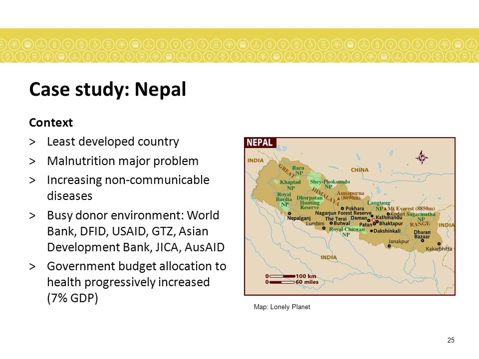 Case study: Nepal Context Least developed country