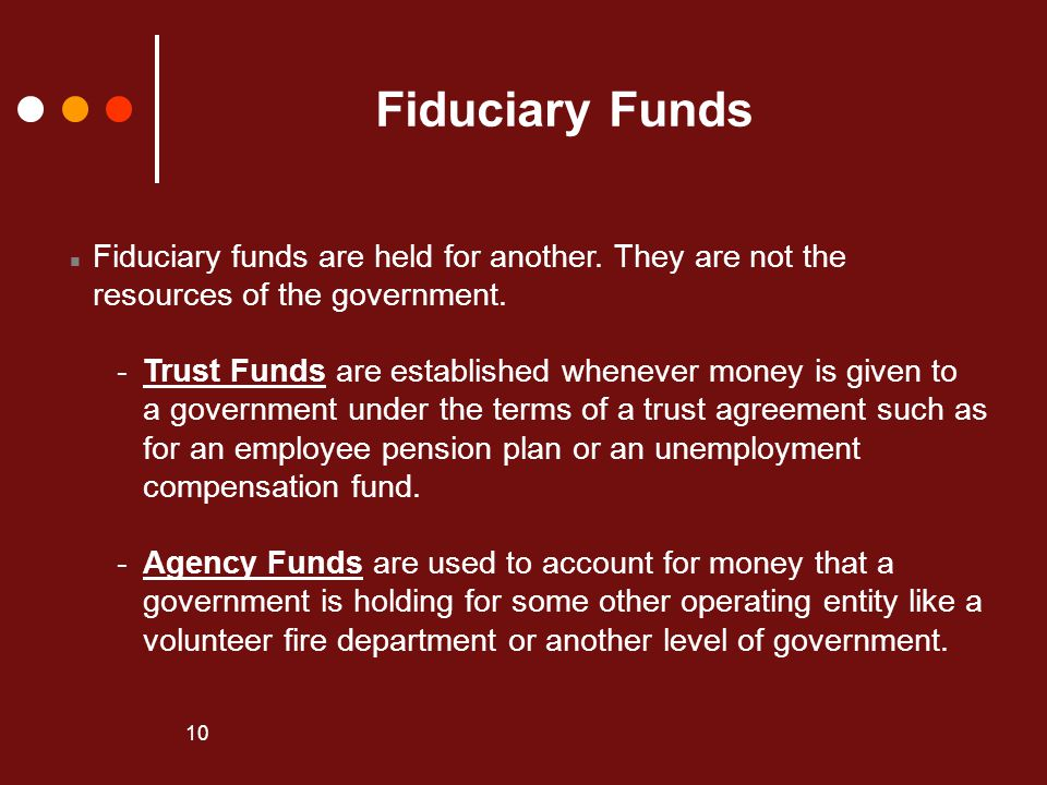 Fiduciary Funds Fiduciary funds are held for another. They are not the
