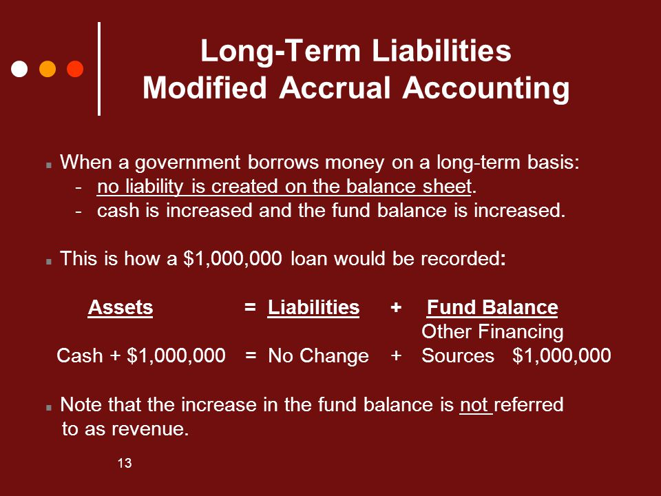 Long-Term Liabilities Modified Accrual Accounting