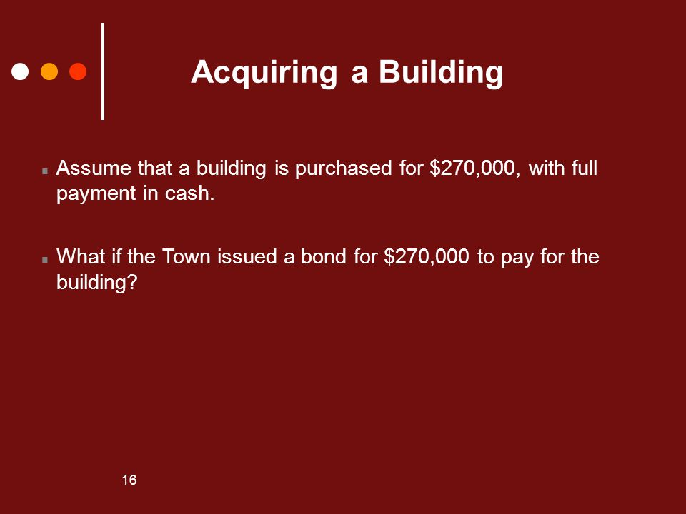 Acquiring a Building Assume that a building is purchased for $270,000, with full payment in cash.