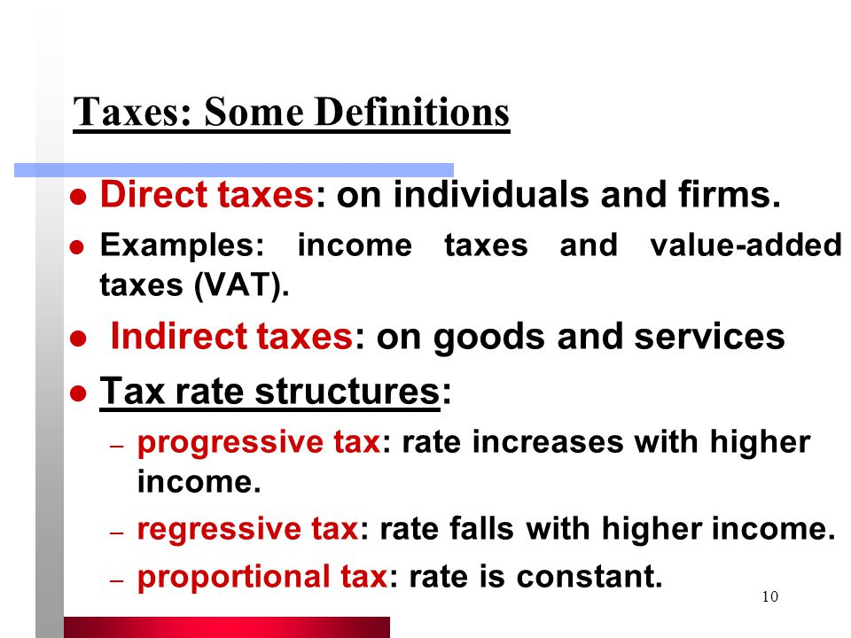 Taxes: Some Definitions
