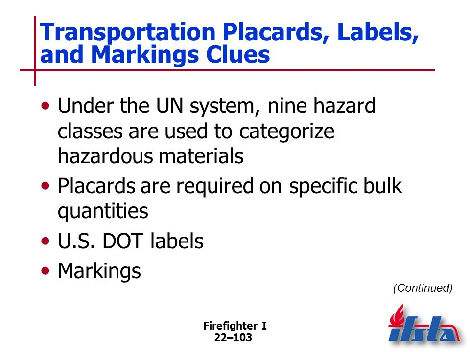 Transportation Placards, Labels, and Markings Clues