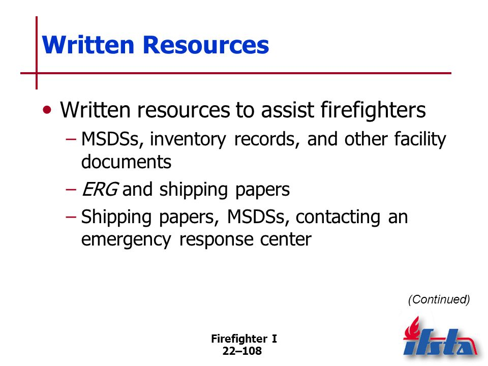 Written Resources Shipping papers Material safety data sheets (MSDS)