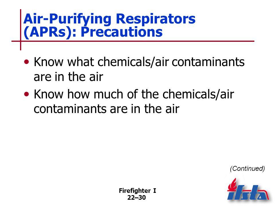 Air-Purifying Respirators (APRs): Precautions