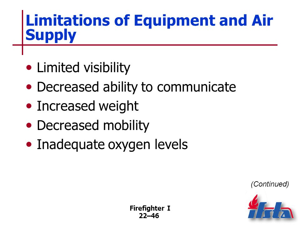 Limitations of Equipment and Air Supply