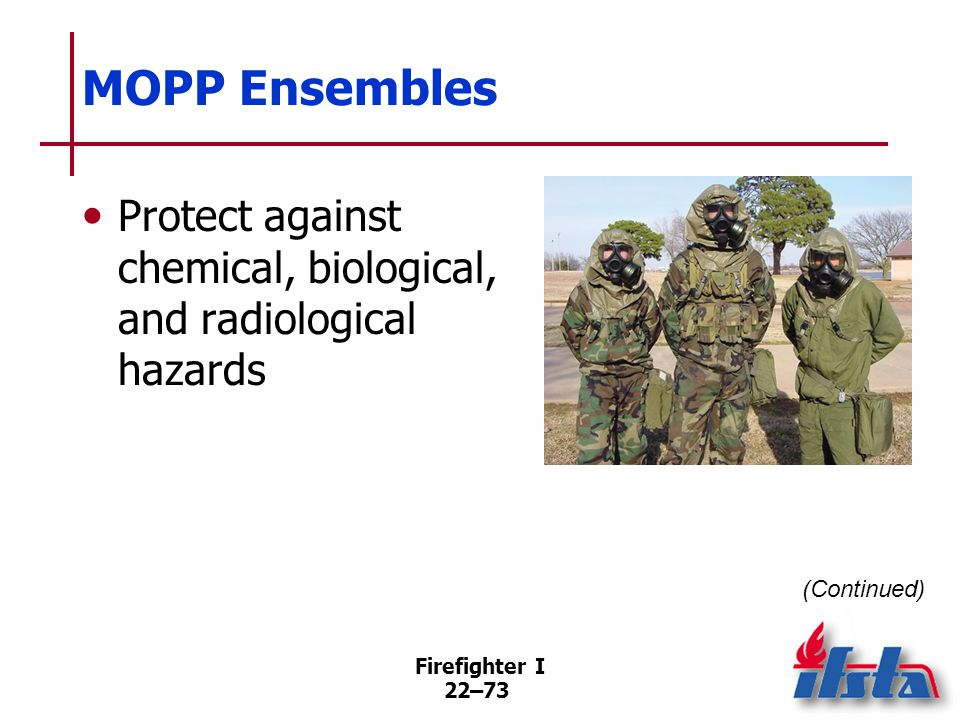 MOPP Ensembles Consist of an overgarment, mask, hood, overboots, and protective gloves. Provide six flexible levels of protection.