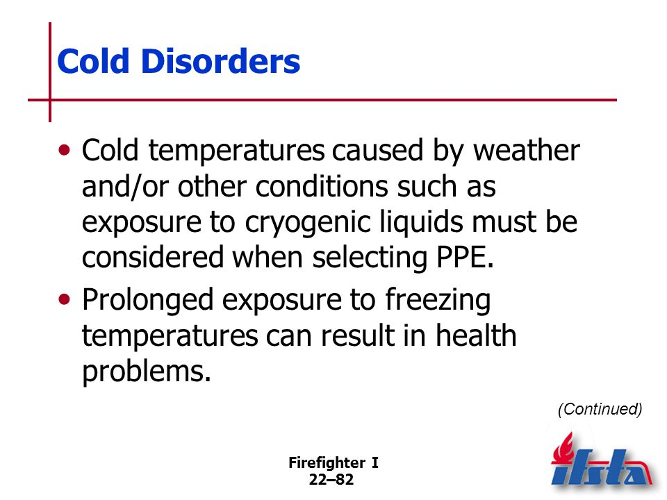 Cold Disorders The four primary environmental conditions that cause cold-related stress are. Low temperatures.