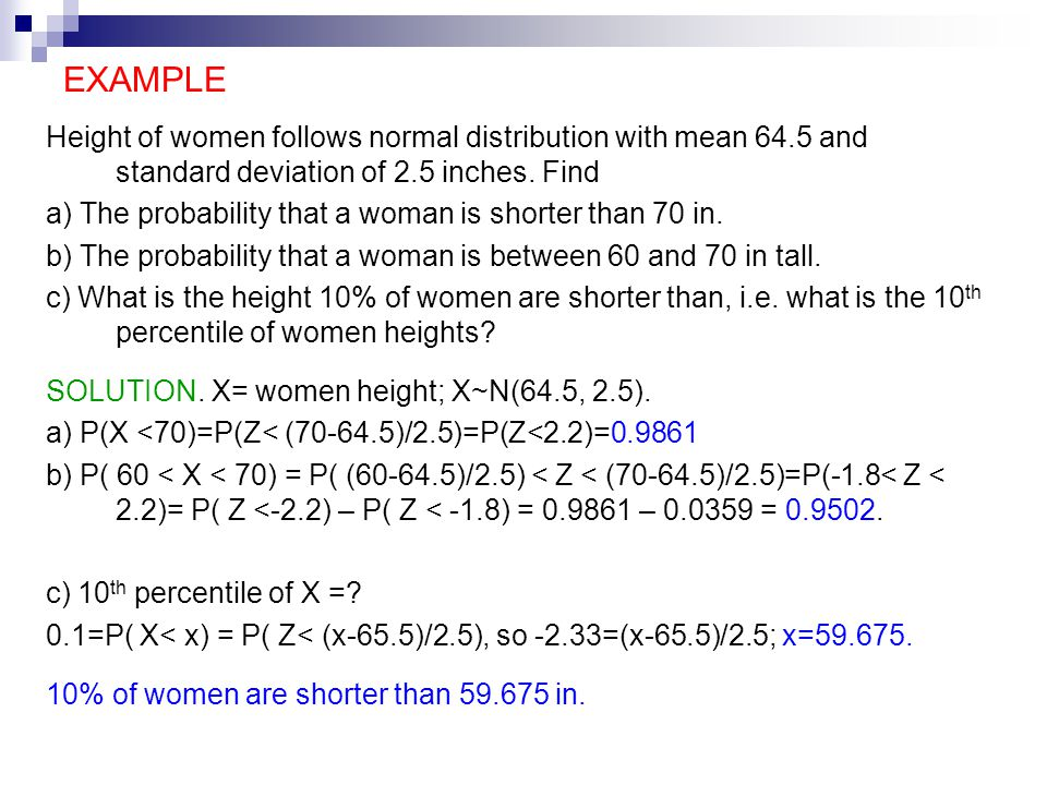 Normal distribution normal distribution continuous distribution example height of women follows normal distribution with mean 645 and standard deviation of 25 inches ccuart Image collections