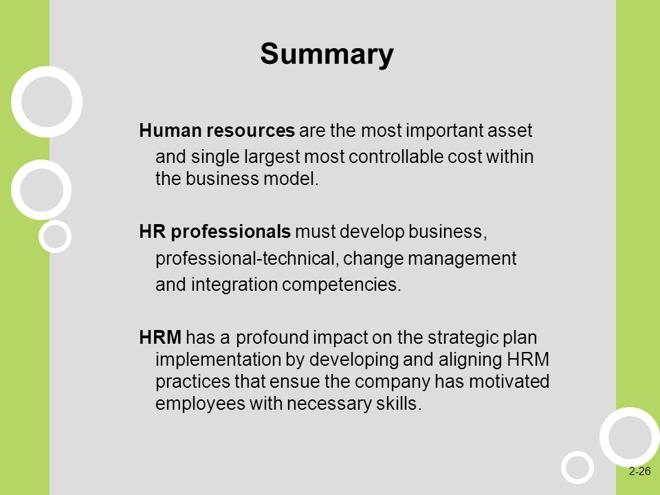 Summary Human resources are the most important asset