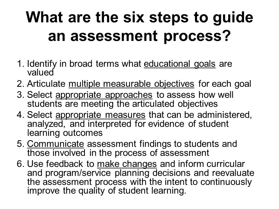 What are the six steps to guide an assessment process