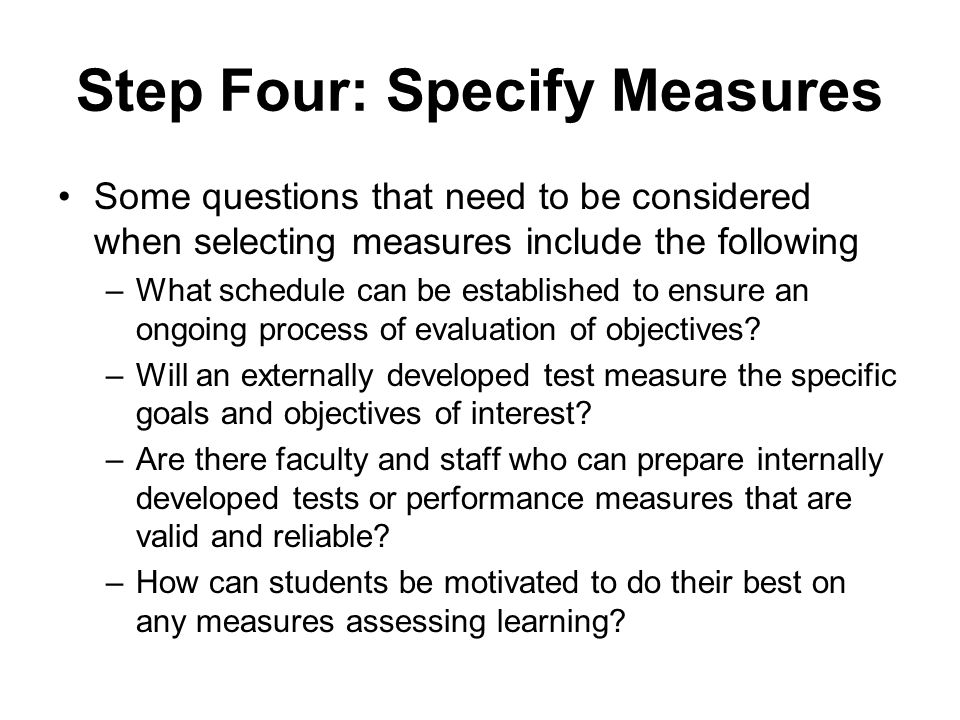 Step Four: Specify Measures